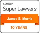 James Morris 10 Years Super Lawyers badge